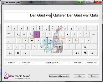 Der Tastenmagier - Schreibtrainingssoftware, Trainingsfenster